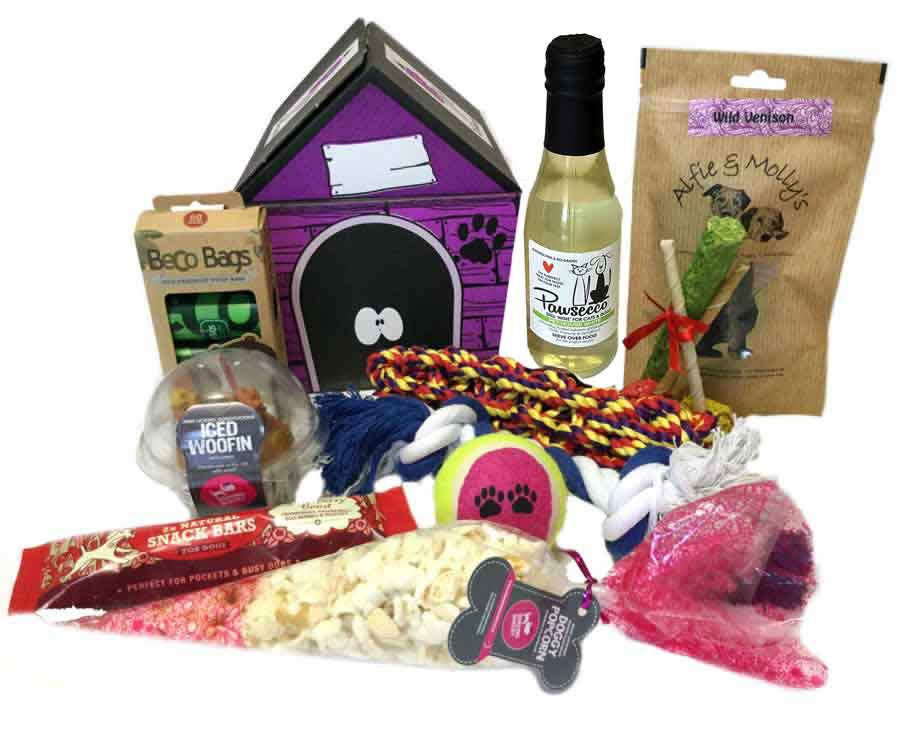 Birthday Woofin Cake Treat Hamper For Dogs With Pawsecco